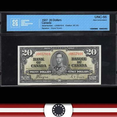 1937 $20 BANK OF CANADA CCCS 66  BC-25c   J/E 0657916