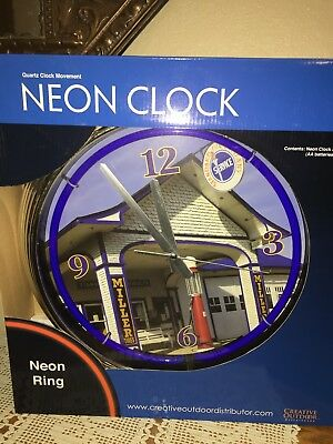 "New Retro Nostalgic 15"" Neon Standard Oil w/ Visible Gas Pump Station Clock"