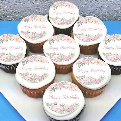 """Floral Happy Birthday Edible Icing Cupcake Toppers - 2"""" - PRE-CUT - Sheet of 15"""