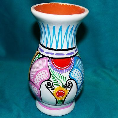 Disney Theme Parks Mexican Pottery Hand Painted Folk Art Peacocks Bird Vase 6 in