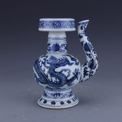 Fine Chinese MIng Blue&White Porcelain Dragon Barbecue Pot