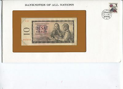 1960 Czechoslovakia 10 Korun Note Crisp UNC  Banknotes of All Nations Limited Ed
