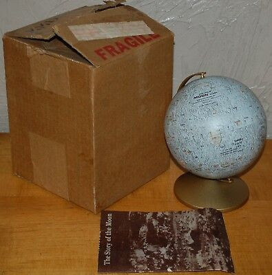 Vintage Replogle Tin Litho Moon 6 Globe Book Box Desk Bookshelf MIB