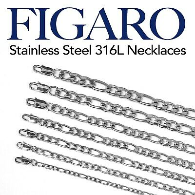 "Figaro Stainless Steel 316L Chain Necklace Men Women 14""-48"" Silver tone 4-10mm"
