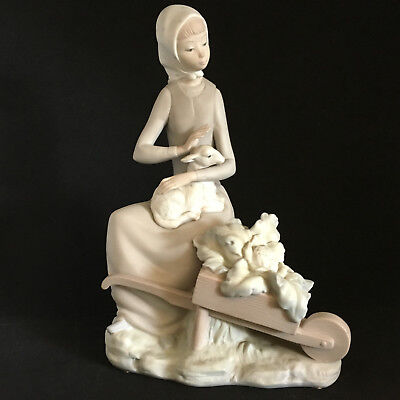 Lladro #4816 Girl with Wheelbarrow and Vegetables Petting Lamb Matte Finish EUC