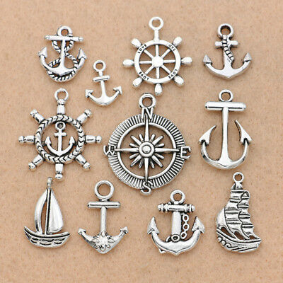 10PCS Mix Antique Silver Anchor Compass Charm pendant for Jewelry Accessories