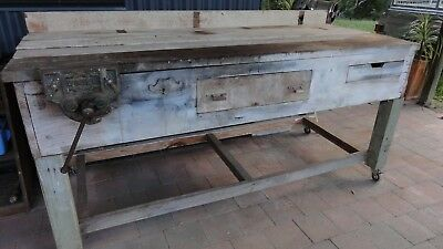 Work Bench - Hand Made - Rustic - Complete With Vice