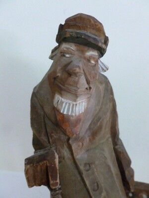 Great quality Swedish Sweden carved wooden figure of an old man, G Nilsson 1938