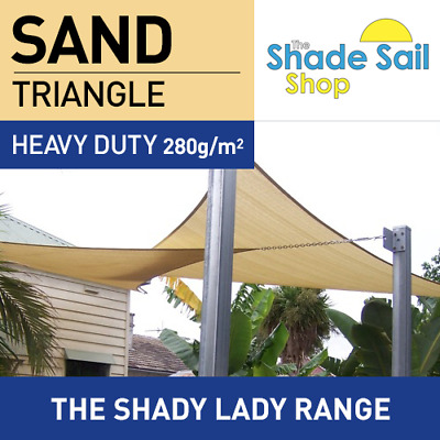 Shade Sail Triangle 5 x 5 x 5 m SAND 280gsm Super strong Corners 5x5x5m