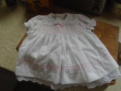 Vintage Baby Dress, White With Smocking Across Chest, Size Newborn To 3 Months