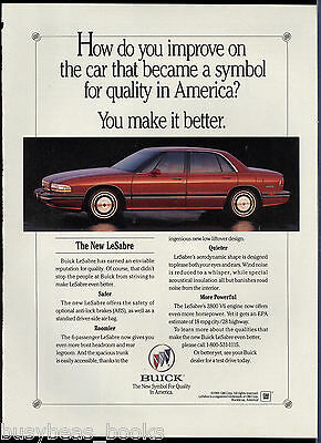 1992 BUICK LESABRE advertisement, Buick Le Sabre red sedan General Motors