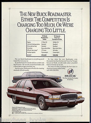 1992 BUICK ROADMASTER advertisement, compared to 1991 Lincoln