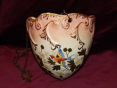 Antique Victorian Hand-Painted Hanging Jardiniere On Chains ~ Bird & Flowers
