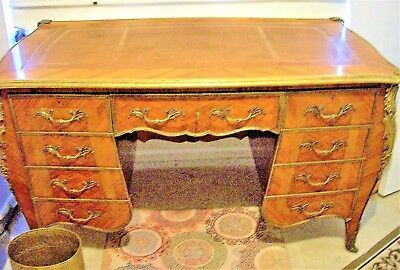 Vintage  Bombay Style Kingwood Parquetry Executive Desk - Make Offer!!!
