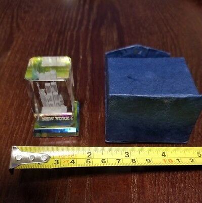 Vintage New York Cityscape Acryllic Paperweight, Color Changing, Desk Decor