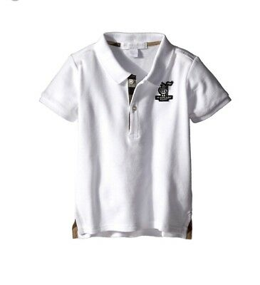 Burberry Baby Children's Palmer Pique Polo Shirt White Size 3Y Toddler Boys NWT