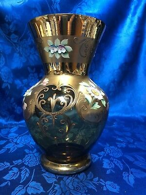 Bohemian Czech 24K Gold Amber Enameled Art Glass Vase 10 1/2""