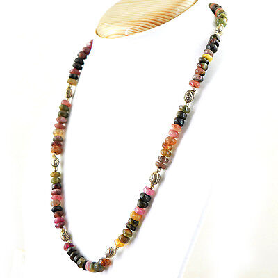 194.00 Cts Natural Untreated Watermelon Tourmaline Round Beads Necklace (Rs)
