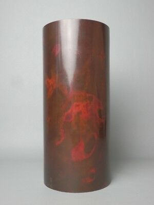 Japanese Vintage Murashi Do Bronze Flower Vase Container Hanaire Ikebana Cup Red