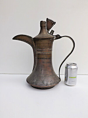 Large  Antique 19th century Copper & Brass Tin Washed Dallah