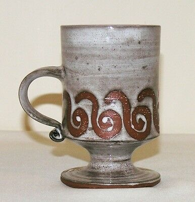 "Vtg Briglin studio pottery pedestal footed mug 4⅝"" retro wave scrolls signed"