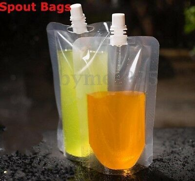 10 x 250ml Stand Up Clear Plastic Liquid Drinks Powders Food Safe Spout Pouch UK