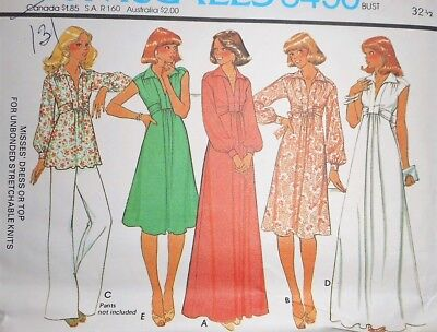 Vintage 1970s McCall's MISSES DRESS Sewing Pattern~FOR KNITS~SIZE 10~#5490 !!