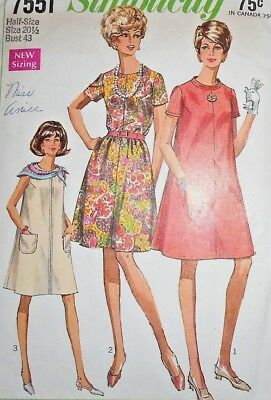 Vintage 1960s Simplicity MISSES TENT DRESS Sewing Pattern~SIZE 20 1/2~#7551 !!