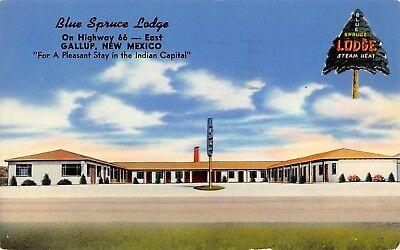 1950 Route 66 Gallup Nm(Indian Capitol)Blue Spruce Lodge Roadside Color Postcard