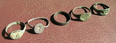 Ancient Artifact > Lot of 5 Bronze Finger Rings > 9th to 19th century A.D. L2