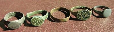 Ancient Artifact > Lot of 5 Bronze Finger Rings > 9th to 19th century A.D. L7