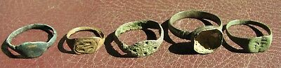 Ancient Artifact > Lot of 5 Bronze Finger Rings > 9th to 18th century A.D. L11