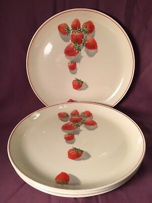 "4 Cavitt Shaw WS George Strawberry Shortcake Red Ring 9 1/4"" luncheon plates EX!"