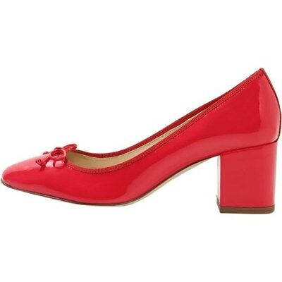 New J. Crew Evie Ballet Heel Patent Leather With Bow Red Size 9.5M  Retail $138