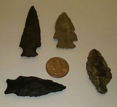 Authentic North Carolina Indian Arrowheads  LOT of 4 Points Very Old