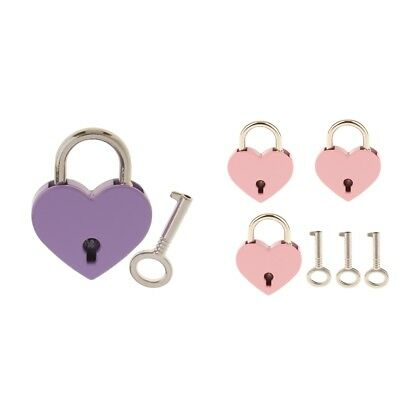 4 PCS Metal Heart Shaped Padlock Lock with Keys for Storage Box Diary Book