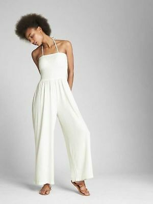 Gap Women's White Strapless Smocked Jumpsuit Size L Tall