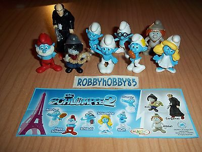 Serie Completa I Puffi 2 Ft120 - Ft128 + 9 Bpz Germania Kinder 2013/2014 Smurfs