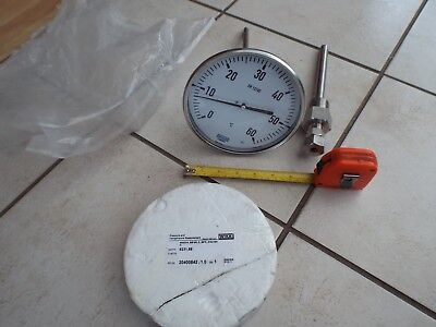"6in WIKA TEMPERATURE 6"" DIAL THERMOMETER PROBE GAUGE 0 - 60° DEGREES LONG STEM"