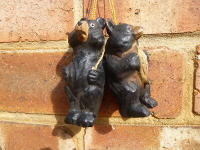 2 X Black Forest ? *  Carved Detailed Bear Hangers * Lovely Condition