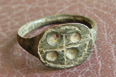 Ancient Artifact > Medieval Bronze Finger Ring SZ: 4 US 15 mm L18