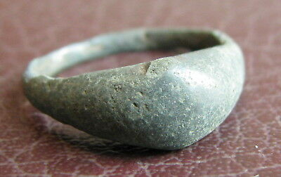 Ancient Artifact > Medieval Bronze Finger Ring SZ: 5 3/4 US 16.25 mm L26