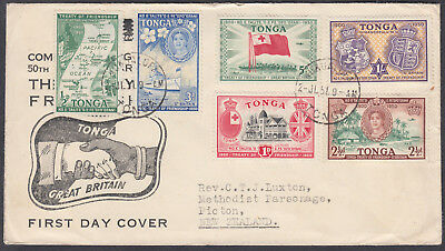 1957 Tonga Treaty of Friendship with Great Britain FDC to Picton, New Zealand