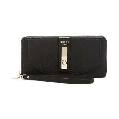 Guess Womens Kingsley Black Pebbled Clutch Zip Around Wallet O/S BHFO 5017
