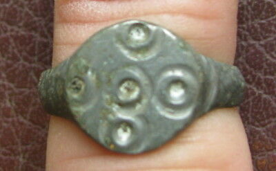 Ancient Artifact > Byzantine Bronze Finger Ring SZ: 6 3/4 US 17 mm L37