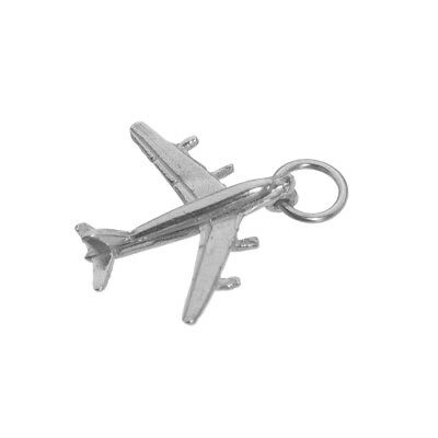 New Sterling Silver Charm Pendant 3D JET AIRPLANE Plane SC430