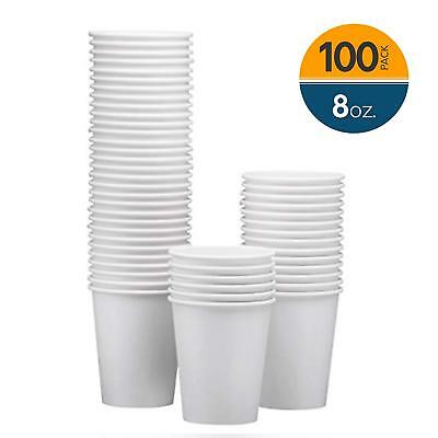 NYHI 100-Pack 8oz White Paper Disposable Cups – Hot/Cold Beverage Drinking Cup –