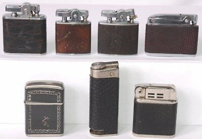 Lot of (7) Vintage Leather Wrapped Lighters BEATTIE Jet, RONSON Adonis CHAMP