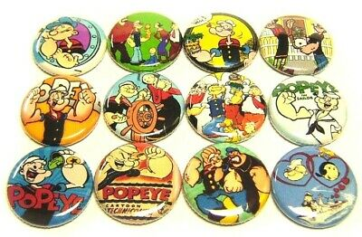 "12 POPEYE The Sailor Buttons 1"" Badges Pinbacks Retro Olive Bluto Cartoon"