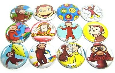 "12 CURIOUS GEORGE Mixed Set 1"" Pinbacks Buttons Pins PBS Kids Cute Monkey Badges"